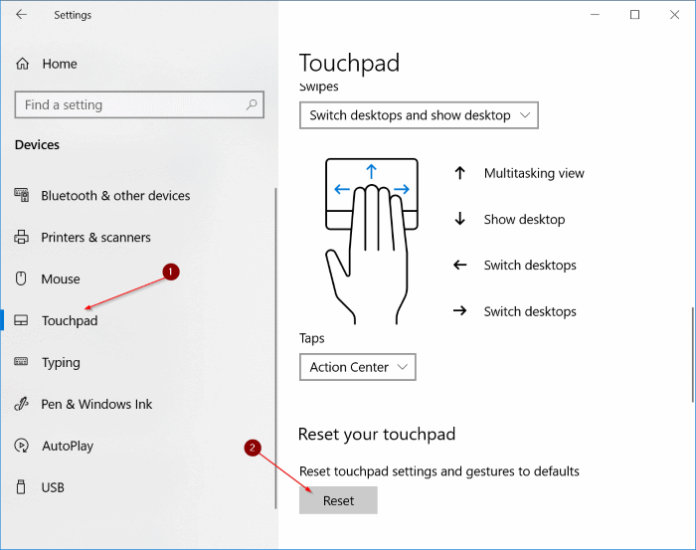reset touchpad settings to defaults in Windows 10