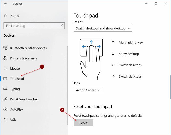 đặt lại cài đặt bàn di chuột về mặc định trong Windows 10
