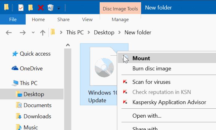 Gắn tệp ISO trong Windows 10/8
