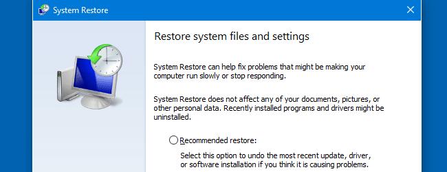 khôi phục hệ thống (rstrui.exe)