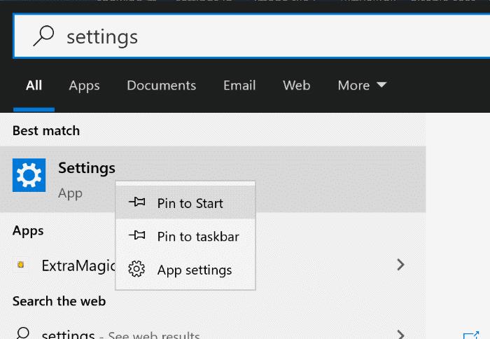 tạo phím tắt ứng dụng cài đặt trên màn hình trong Windows 10 pic1