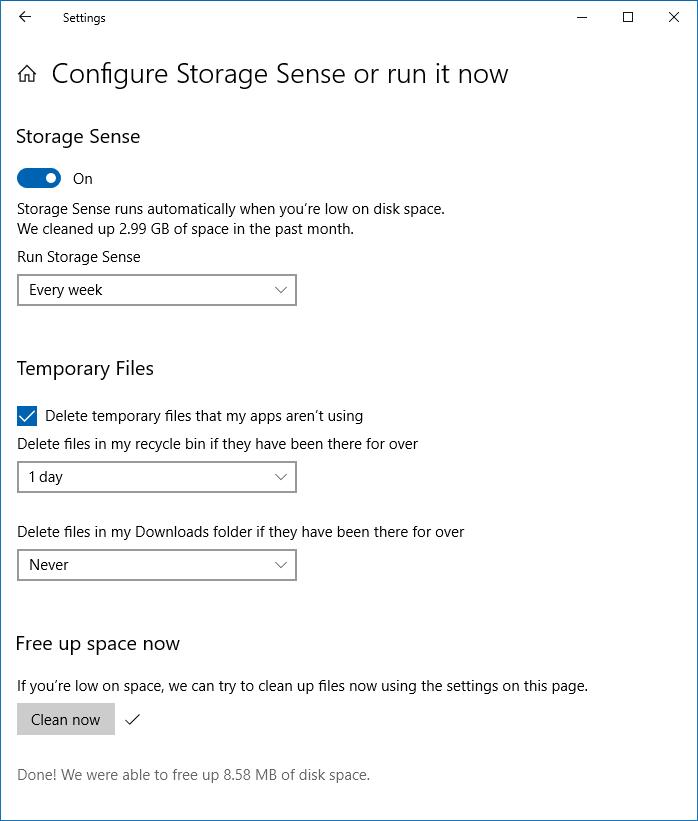 tùy chọn dọn dẹp cài đặt lưu trữ windows 10