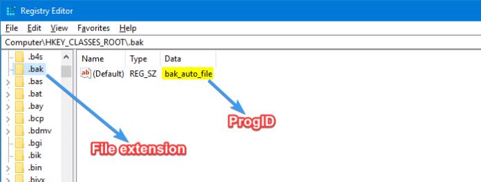 find progid for a file type registry