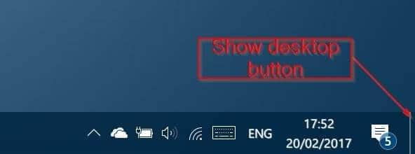 loại bỏ nút hiển thị màn hình nền khỏi windows 10 thanh tác vụ pic1
