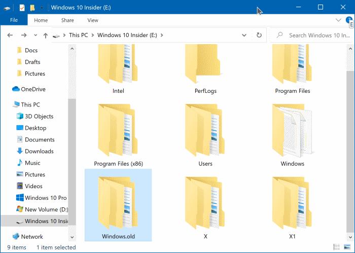 xóa thư mục windows.old trong Windows 10
