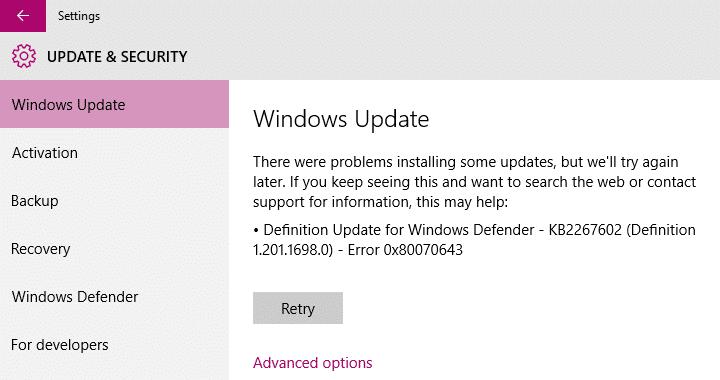 lỗi cửa sổ bảo vệ 0x80070643