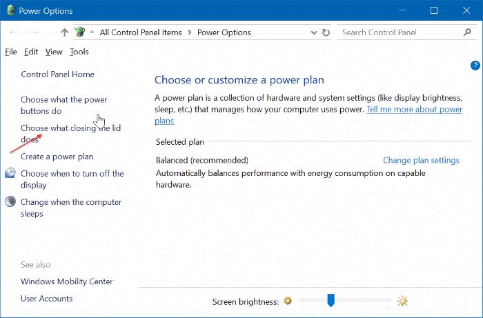 ngăn máy tính xách tay khởi động khi mở nắp trong windows 10 pic2