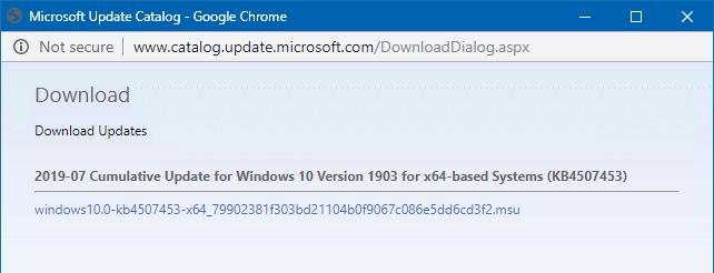 tải xuống các bản cập nhật từ danh mục cập nhật microsoft