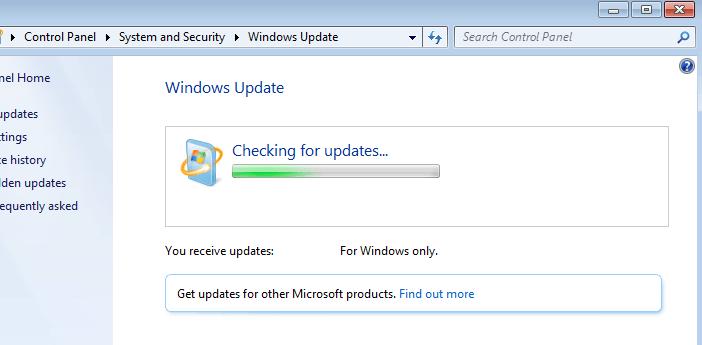 windows 7 bị treo kiểm tra các bản cập nhật